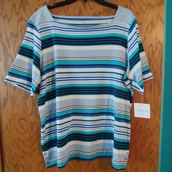 Croft /& Barrow Square Neck Cotton Knit Tee Top Womans Plus 1X 2X 3X New $24